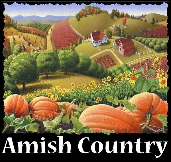 Alabama Hills Painting - Amish Country T Shirt - Appalachian Pumpkin Patch Country Farm Landscape 2 by Walt Curlee