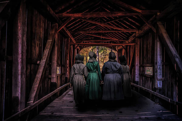 Wall Art - Photograph - Amish Girls In Covered Bridge by Tom Mc Nemar
