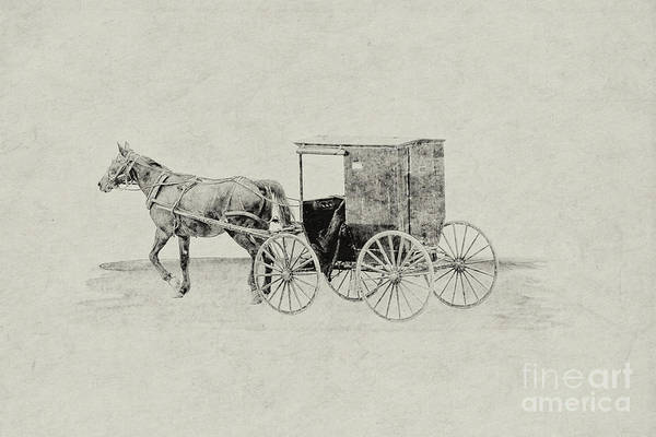 Wagon Digital Art - Amish Horse And Buggy Sketch by Randy Steele