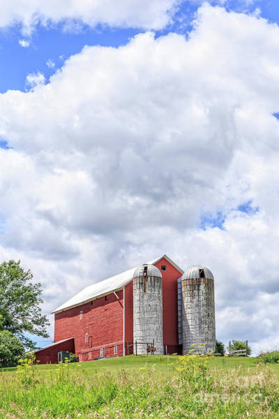 Upstate Photograph - Amish Red Barn And Silos by Edward Fielding