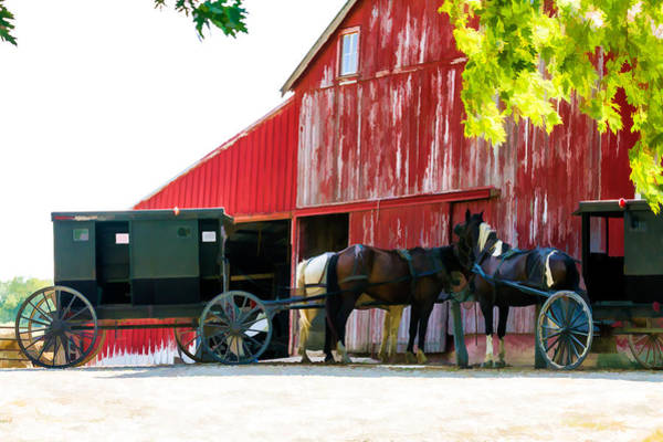 Amish Country Digital Art - Amish Red Barn by Henry Fitzthum