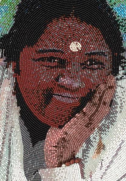 Hindu Goddess Wall Art - Glass Art - Amma - Close Up by Zoe Byrd