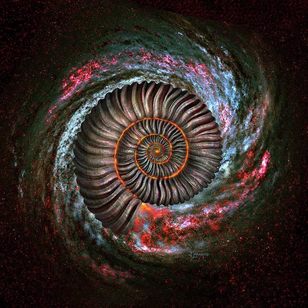 Mystical Wall Art - Digital Art - Ammonite Galaxy by Jerry LoFaro
