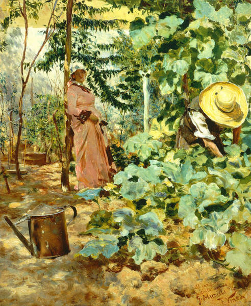 Watering Can Painting - Among Pumpkin Plants by Francesco Vinea