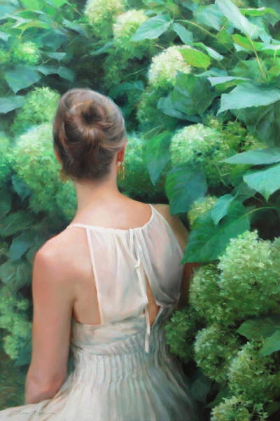 Figurative Wall Art - Painting - Among The Hydrangeas by Anna Rose Bain