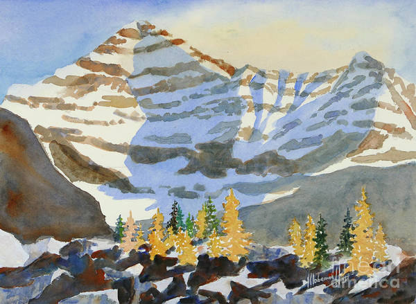 Alpine Meadow Painting - Amongst The Larches by Mohamed Hirji