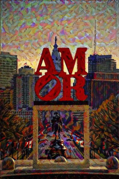 Philly Digital Art - Amor In Mirror - Philadelphia by Bill Cannon