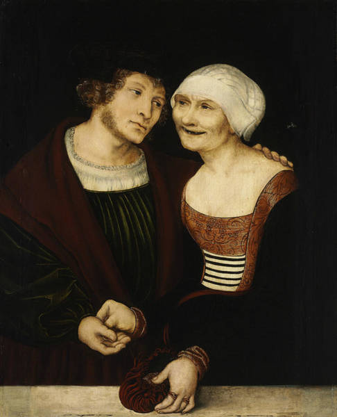 Cranach Painting - Amorous Old Woman And Young Man by Lucas Cranach the Elder