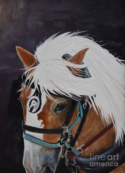 Pulling Painting - Amos - Haflinger - Horse by Jan Dappen
