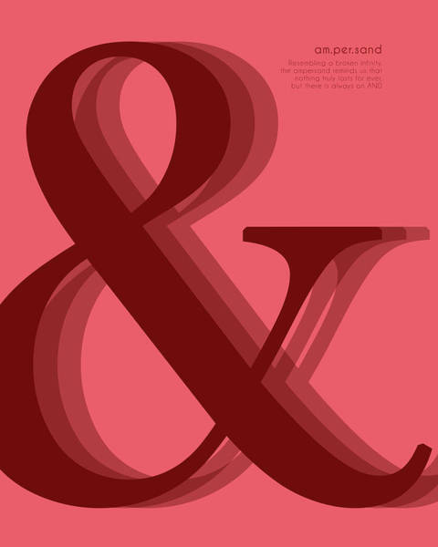 Pop Culture Mixed Media - Ampersand 1 - Red - And Symbol - Minimalist Print - Typography - Quote Poster by Studio Grafiikka