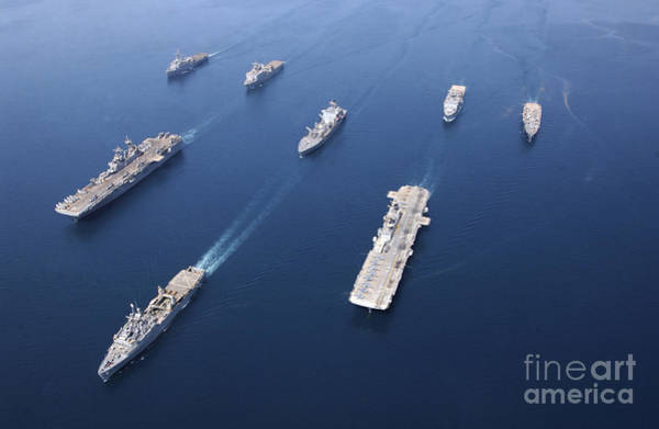 Amphibious Assault Ship Wall Art - Photograph - Amphibious Task Force-west In Formation by Stocktrek Images
