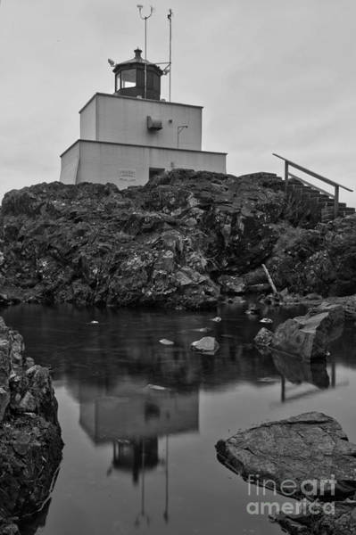 Photograph - Amphitrite Lighthouse Black And White Portrait by Adam Jewell