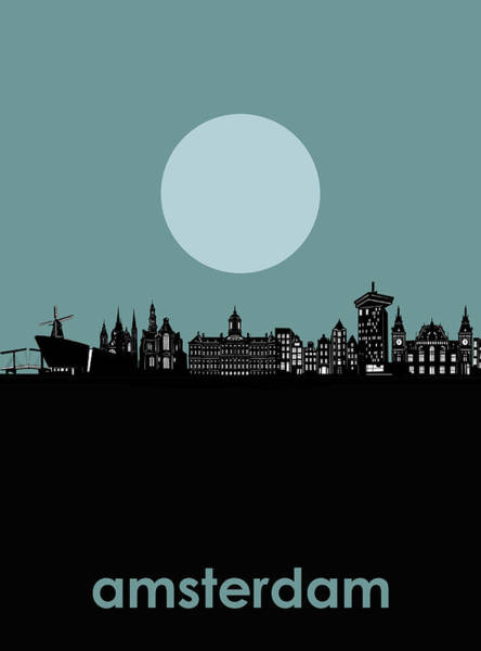 Holland Digital Art - Amsredam Skyline Minimalism by Bekim M