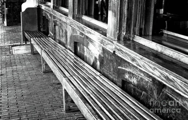 Holland America Line Wall Art - Photograph - Amsterdam Bench Lines Mono by John Rizzuto
