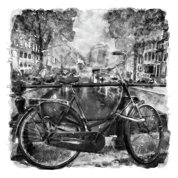 Holland Wall Art - Painting - Amsterdam Bicycle Black And White by Marian Voicu