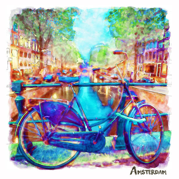 Holland Wall Art - Painting - Amsterdam Bicycle by Marian Voicu