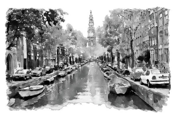 Wall Art - Painting - Amsterdam Canal 2 Black And White by Marian Voicu