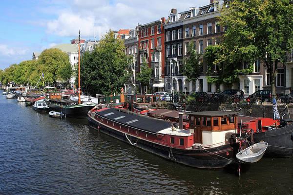 Houseboat Photograph - Amsterdam Canal Boats by Aidan Moran