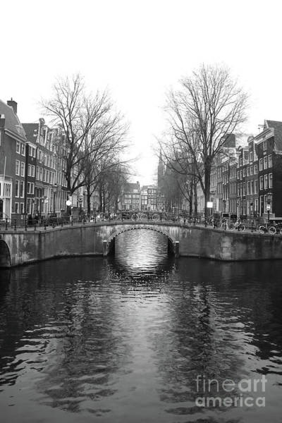 Photograph - Amsterdam Canal Bridge Black And White by Carol Groenen
