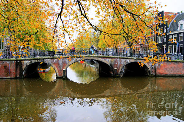 Photograph - Amsterdam Canal Reflections by David Birchall
