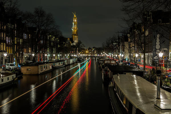 Prinsengracht Photograph - Amsterdam Canal With Boat And Bike Trails by John Daly