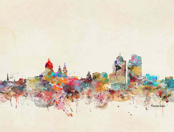 Amsterdam Painting - Amsterdam City Skyline by Bri Buckley