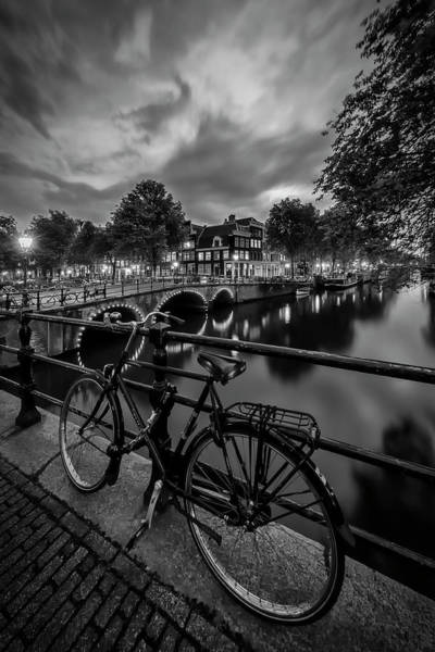 Wall Art - Photograph - Amsterdam Evening Impression From Brouwersgracht - Monochrome by Melanie Viola