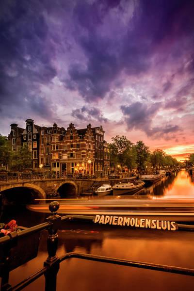 Wall Art - Photograph - Amsterdam Idyllic Nightscape From Brouwersgracht  by Melanie Viola
