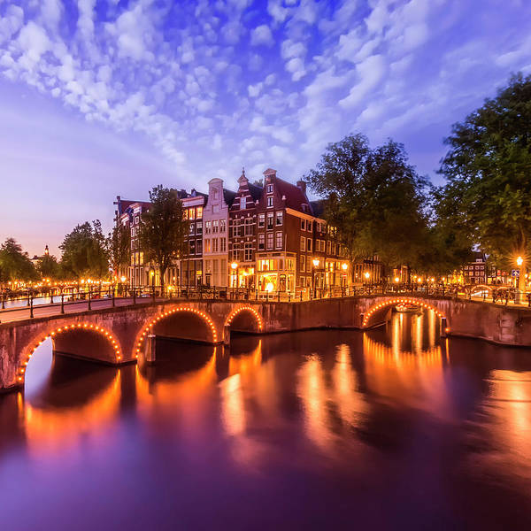 Wall Art - Photograph - Amsterdam Idyllic Nightscape From Keizersgracht And Leidsegracht  by Melanie Viola