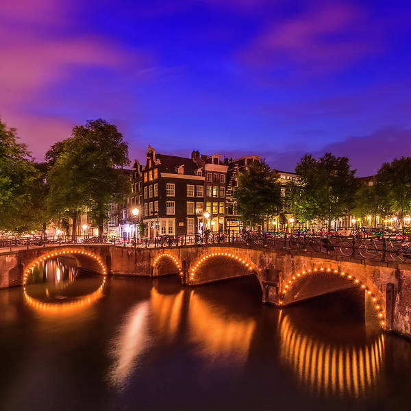 Wall Art - Photograph - Amsterdam Idyllic Nightscape From Keizersgracht And Leliegracht  by Melanie Viola