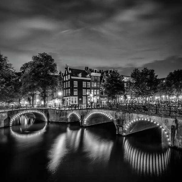 Wall Art - Photograph - Amsterdam Idyllic Nightscape From Keizersgracht And Leliegracht - Monochrome by Melanie Viola