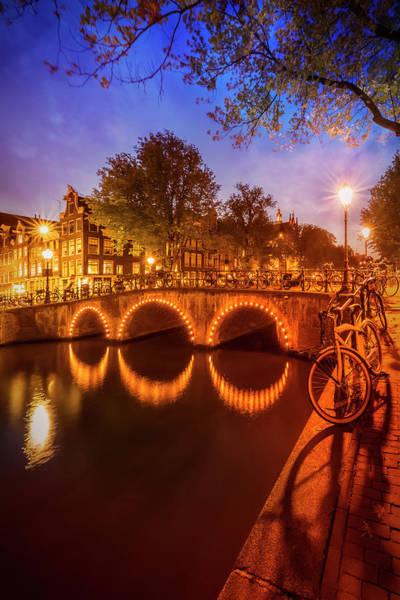 Wall Art - Photograph - Amsterdam Idyllic Nightscape From Keizersgracht  by Melanie Viola