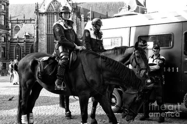 Wall Art - Photograph - Amsterdam Mounted Police Mono by John Rizzuto