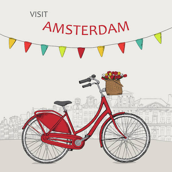 Amsterdam Painting - Amsterdam, Red Bicycle, Travel Poster by Long Shot