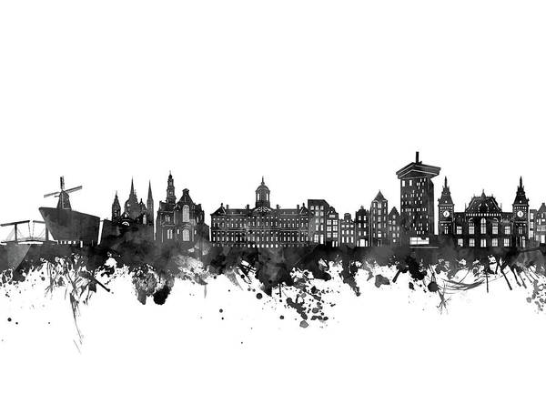 Holland Digital Art - Amsterdam Skyline Black And White by Bekim M