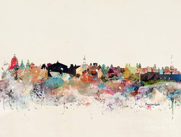 Amsterdam Painting - Amsterdam Skyline by Bri Buckley