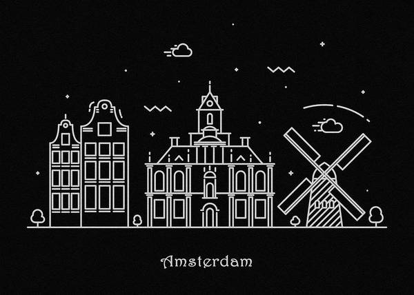 Wall Art - Drawing - Amsterdam Skyline Travel Poster by Inspirowl Design