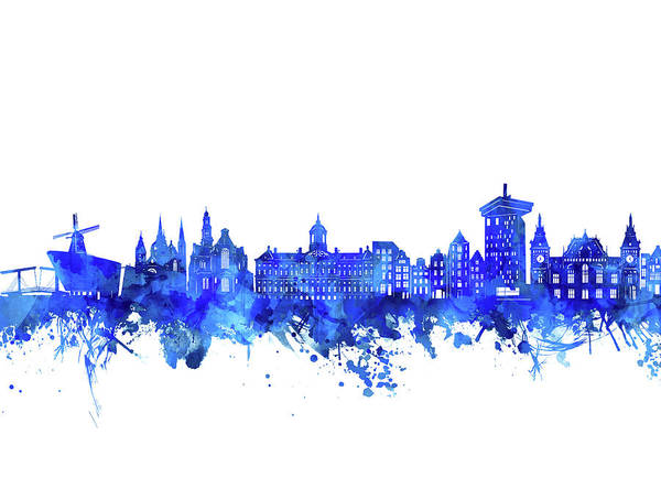 Holland Digital Art - Amsterdam Skyline Watercolor Blue by Bekim M