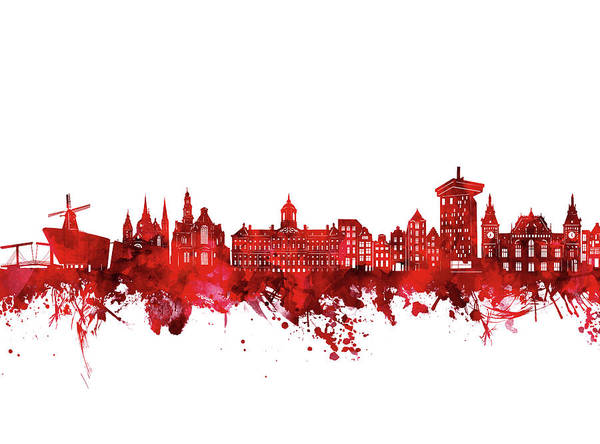 Holland Digital Art - Amsterdam Skyline Watercolor Red by Bekim M