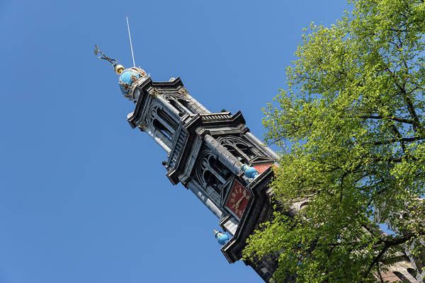 Photograph - Amsterdam Spring - Blue Crown Westerkerk Bell Tower Above The Trees by Georgia Mizuleva
