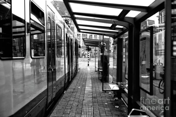 Holland America Line Wall Art - Photograph - Amsterdam Tram Lines Mono by John Rizzuto
