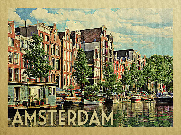 Holland Digital Art - Amsterdam Travel Poster by Flo Karp