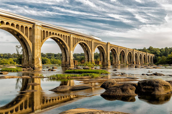 James River Photograph - Amtrak Over The James by Tim Wilson