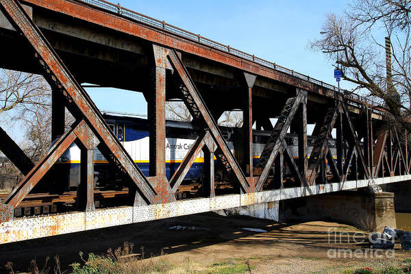 Photograph - Amtrak California Crossing The Old Sacramento Southern Pacific Train Bridge . 7d11410 by Wingsdomain Art and Photography