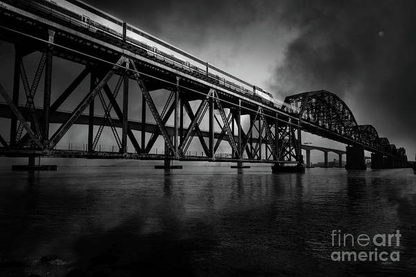 Benicia Bridge Wall Art - Photograph - Amtrak Midnight Express 5d18829 Black And White by Wingsdomain Art and Photography