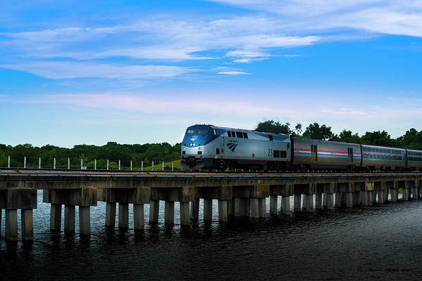Rail Crossing Photograph - Amtrak No 25 by Marvin Spates