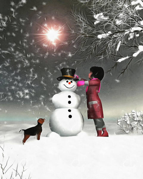 Painting - Amy And Buddy Building A Snowman by Jan Keteleer