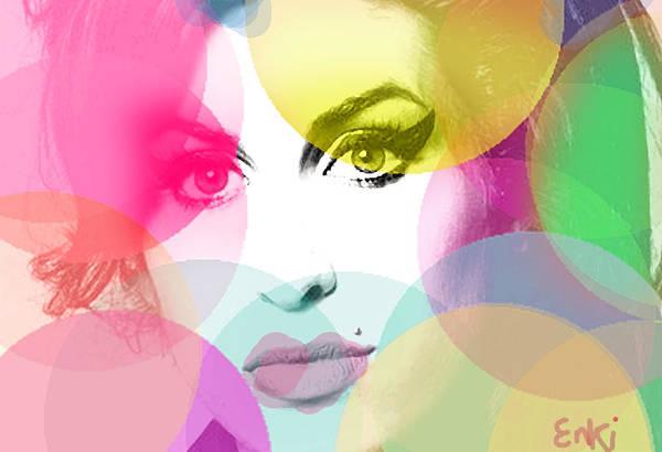 Free Jazz Painting - Amy Portrait Pink Yellow  by Enki Art