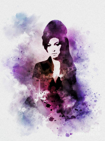Back To Black Wall Art - Mixed Media - Amy by My Inspiration