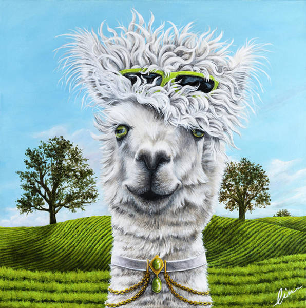 Alpaca Painting - Amy The Alpaca Painting By Cindy Chinn by Cindy D Chinn